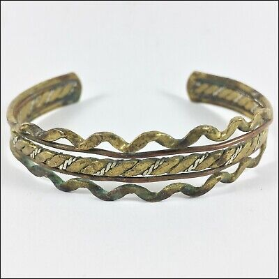 Ancient Handmade Bracelet Bronze Twisted, Artifact Wearable Gold Color Rare Old,