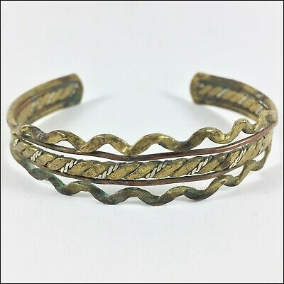 "Ancient ""Viking"" Bracelet Bronze Extremely Artifact Unique, Gold Color Rare Old"