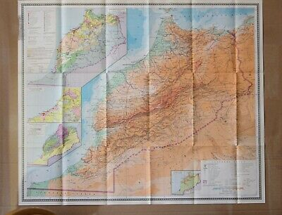 Vintage Original Folding Paper Map of Morroco Large Old Geography School Map