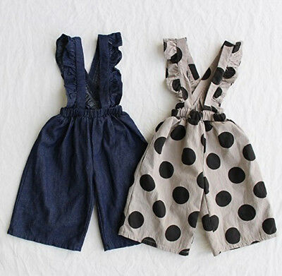 Kids Baby Girls Dungarees Pants Ruffle Bib Overalls Jumpsuit Outfit One pieces