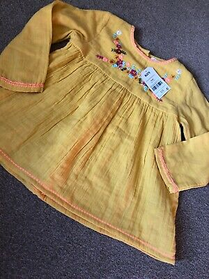 Next Mustard Vintage Style Gypsy Floral Girls Blouse Top 3-4 Years