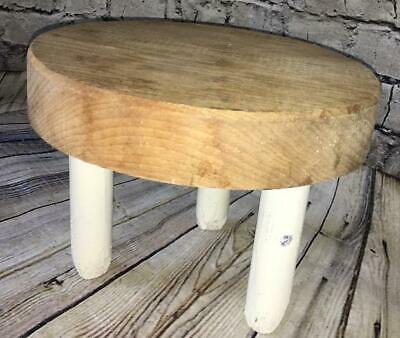 Vtg small wooden stool milking stool rustic farmhouse country white chip paint