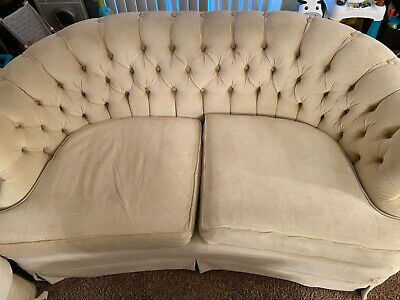 victorian couch set, cream, fixer upper, Broyhill, 1960, tufted, velvet