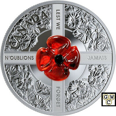 2019 'Lest We Forget (Murano Glass)' Proof $20 Silver Coin 1oz .9999 Fine(18850)