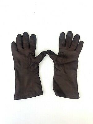 Vintage Neiman Marcus Women Winter Brown Leather Cashmere Lined Gloves Size 7.5