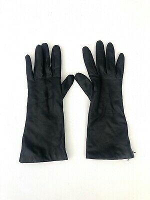 Vintage Women' Neiman Marcus Winter Black Leather Cashmere lined gloves Size 7.5