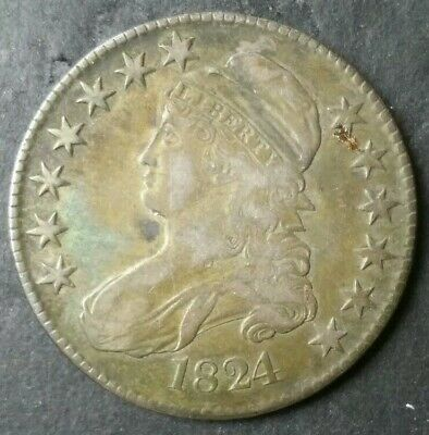 1824 50c Capped Bust Silver Half Dollar O-113 Eagle Drops the Snake