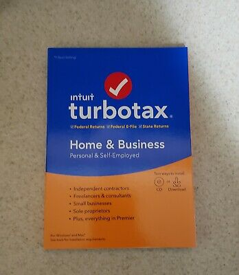 Intuit TurboTax Home & Business 2019 Tax Software for Windows and Mac