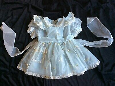 VTG 40s 50s Sheer Embroidered Baby Louise Original PINAFORE Dress Set