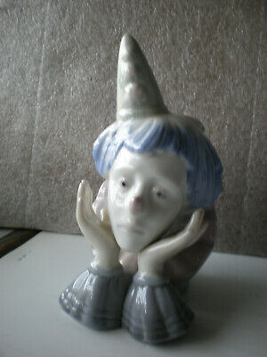 """Glossy Pastel Colored Porcelain /""""Bust of Sad Clown/"""" Figurine"""