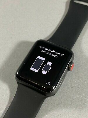 Apple Watch Series 3 42mm Space Gray Cellular GPS Aluminum Case Black Sport Band
