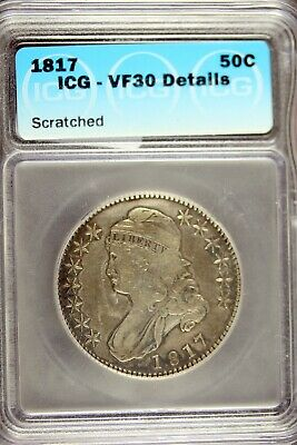 1817 - ICG VF30 DETAILS (SCRATCHED) CAPPED BUST Half Dollar!!  #B19580