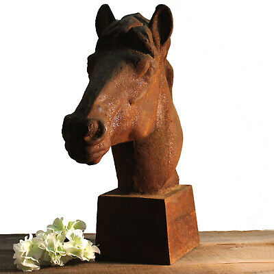 Cast Iron Horse Head Sculpture Rusted Antique Reproduction