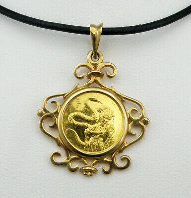 1989 SINGAPORE 5 Singold Year Of The Snake OMP Proof Gold Coin Pendant