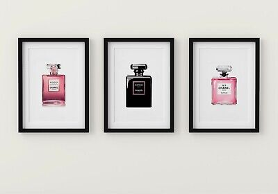 Set Of 3 Coco Chanel Perfume Bottle A4 Glossy Fashion Art Prints Home Gifts Pink