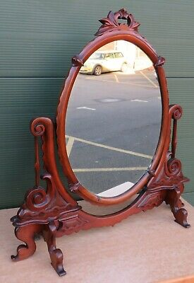 Antique Victorian Carved Walnut Dressing Table Mirror