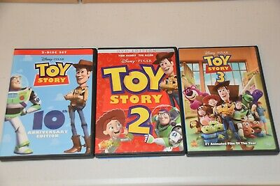 Disney Pixar Toy Story 1 2 3 Trilogy (DVDs)  LIKE NEW
