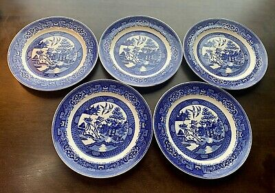 "5 Antique BLUE WILLOW 9 1/8"" Dinner LUNCHEON PLATES HOMER LAUGHLIN  WARE"