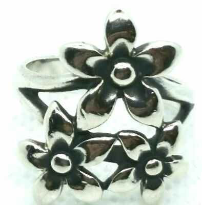 Retired James Avery Flower Floral Bouquet Ring Sterling Silver Womens Size 6