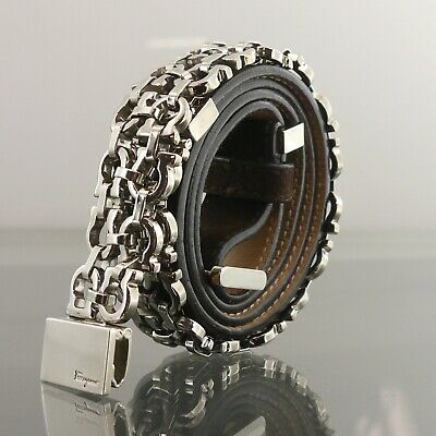 Authentic Salvatore Ferragamo Belt Chain Gancini Dark Brown Leather M #f563985