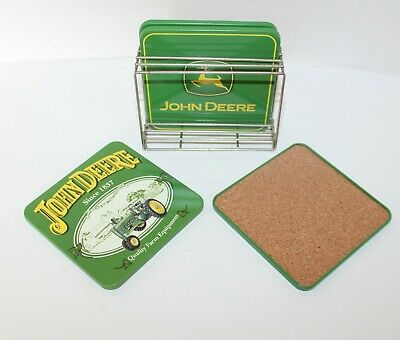John Deere Coaster Set with Chrome Holder Stand - Set of Four Plus Stand