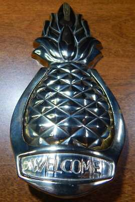 """Vintage Avon Brass Pineapple Hospitality Door Knocker """"WELCOME"""" Highly Polished"""