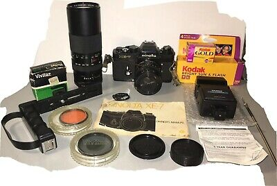 Vintage Minolta XE-7 SLR 35mm Camera Lot  with MD 50MM F1:1.7 Lens Plus More