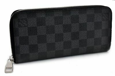 Authentic Louis Vuitton Damier Graphite Zippy Wallet Vertical N63095 LV 91871