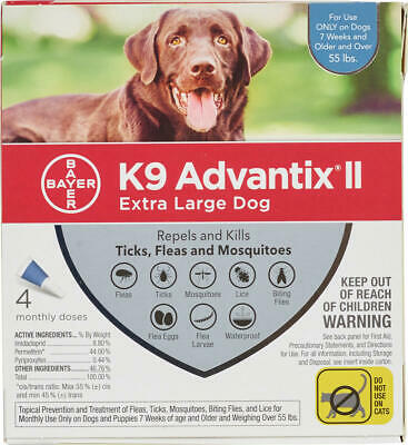 K9 Advantix II for Extra Large Dogs Over 55 lbs - 4 Pack - FREE Shipping