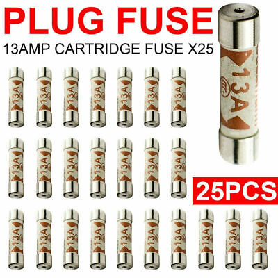 25x 13A Domestic Fuses Plug Top Household Mains 13amp Cartridge Fuse UK seller