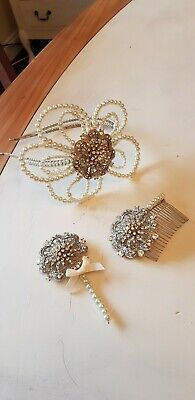 EX DISPLAY HANDMADE  matching tiaras, comb and buttonhole. Vintage style
