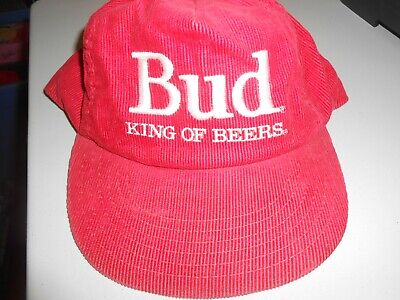 Vintage Bud King of Beers Budweiser Corduroy Snap-Back Cap One Size Fits All