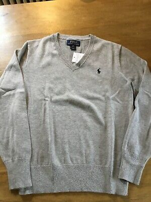 polo ralph lauren Grey V Neck Jumper Sweater Pullover Size M Age 10/12 Boys Bnwt