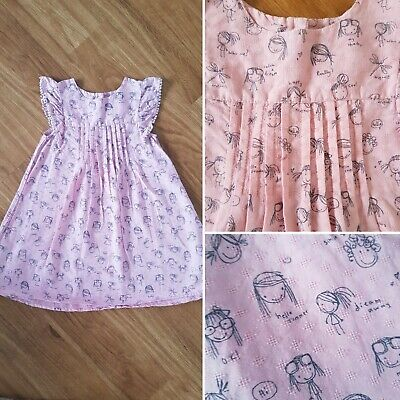 NEXT ~ Girl's Pretty Pink and Grey Patterned Dress ~ Age 2/3 Years ~ VGC