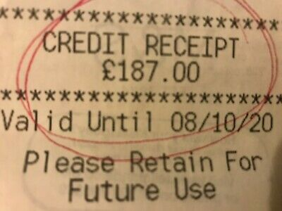 M&S Marks And Spencer Credit Receipt / Voucher Worth £187 Valid Until 08/10/20