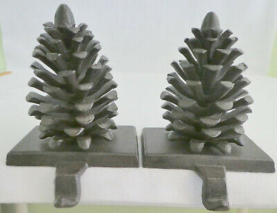 Vintage Cast Iron Pine Cone Christmas Stocking Hangers Hook Antique Finish Set 2