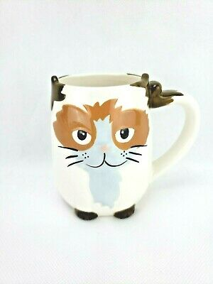 TAG 3D Cat Coffee Mug Tea Cup 16 Oz tan brown Hand Painted Whimsical Collectible