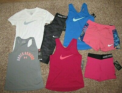 Nike Under Armour Girls Medium Mixed Lot Shirt Shorts Leggings