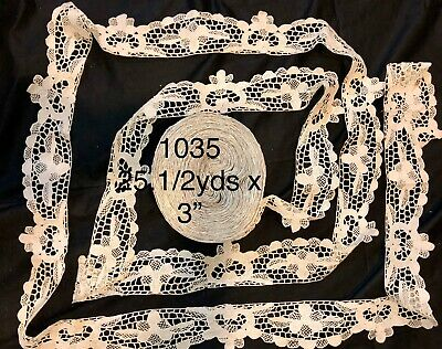 "25.1/2yds x 3"" Antique Hand Made Needle Lace Early 20thC-MIN. 3 YARD BUY. -1035"