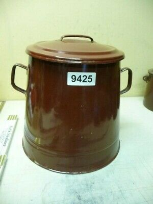 9425. Alter Emaille Email Topf Vorratstopf  Old enamel pot