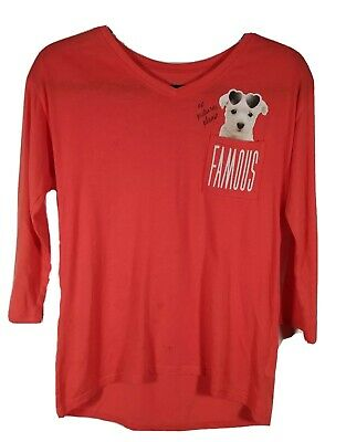 Justice Girls Size 12 Dog Long Sleeve Top