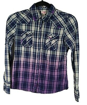 Justice Girls Blue/purple Plaid Sparkle Button down Shirt 12