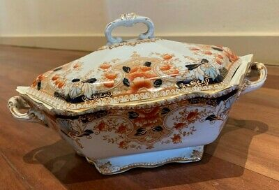 Beautiful Antique Stanley Pottery Imari Style Melba Tureen With Lid - 1910
