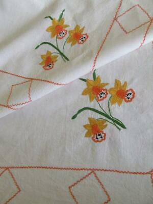 Unused Large Hand Embroidered Vintage Tablecloth - Daffodils - 138 x 140 cm