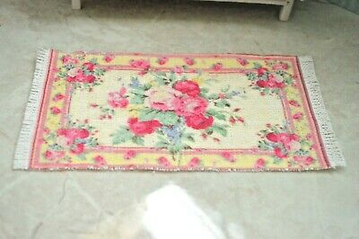 Dollhouse Miniature Rug Carpet Floral Roses Pink Beige Shabby Chic 1:12 scale