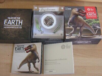 2020 Megalosaurus Dinosaur Coloured Silver Proof Fifty Pence 50p Coin & Low COA