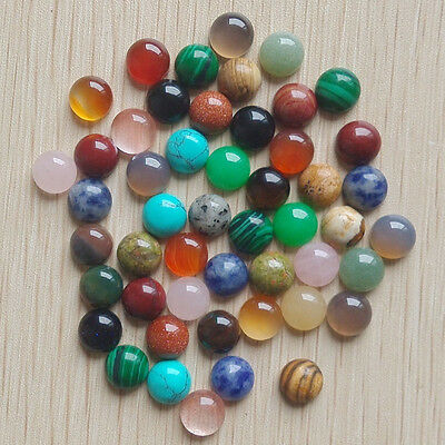 Wholesale 50pcs/lot natural gemstone mixed round CAB CABOCHON stone beads 10mm