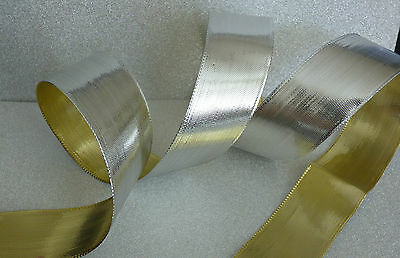 Free UK Post Christmas lurex ribbon shiny gold or silver edge 10mm x 1M+1M Free