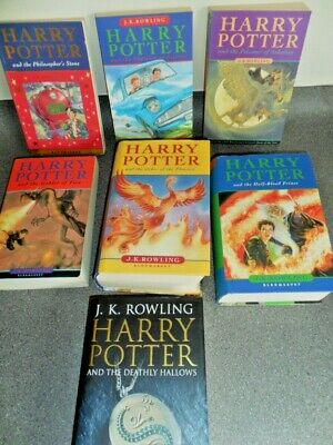 Complete set of 7 Harry Potter books 3 hard backs with jackets and 4 paperbacks