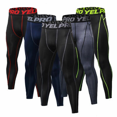 YEL PRO Men's Compression Sports Legging Pants Stretch Gym Workout Running Tight